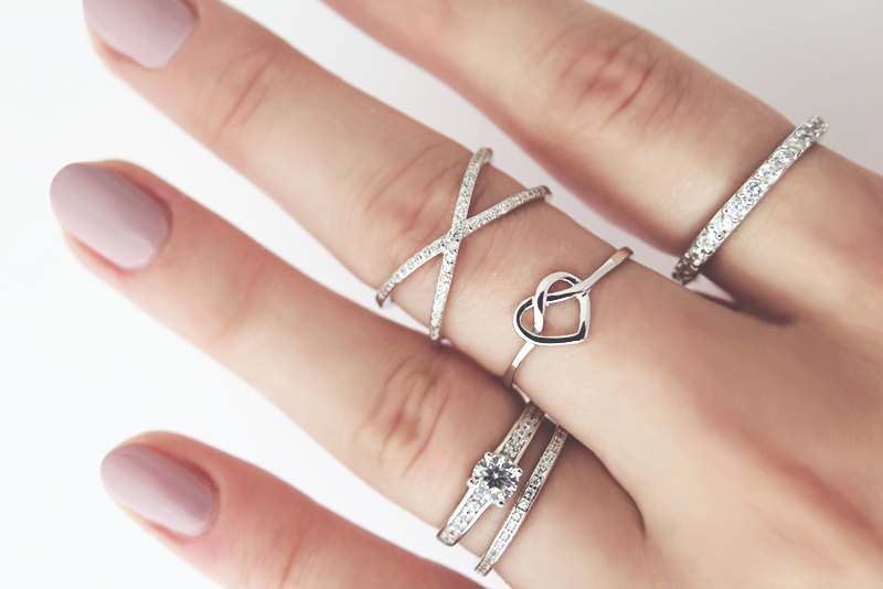 knot infinity silver ring promise ring heart 8s